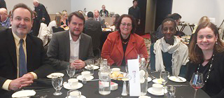 From left: CWA Canada President Martin O'Hanlon joined members Mike Blanchfield (Canadian Press), Nathalie Bastien (CBC), Angie Bonenfant (CBC), and Kristy Kirkup (CP), at a luncheon held by the Canadian Committee for World Press Freedom at the National Arts Centre in Ottawa.